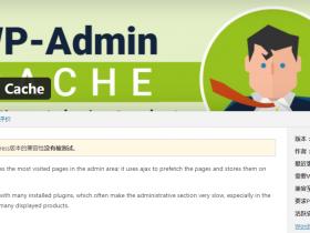 WordPress唯一站点后台加速缓存插件WP Admin Cache v0.27中文汉化版